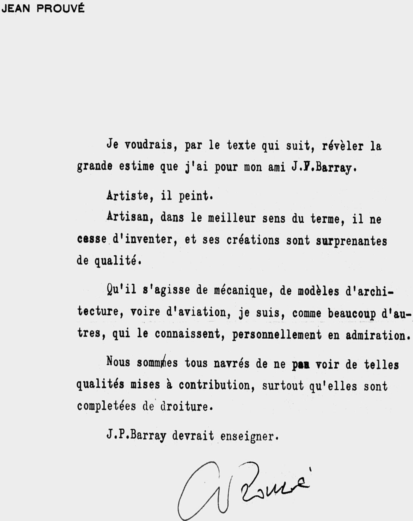 Lettre recommandation de Jean Prouvé